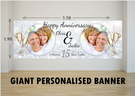 Personalised GIANT Large 15th Crystal Wedding Anniversary PHOTO Poster Banner N45